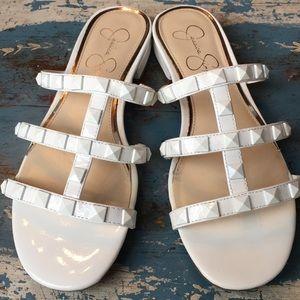 Jessica Simpson White Studded Slides